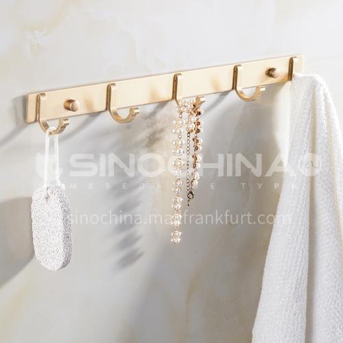 Bathroom space aluminum champagne gold row 5 hooks coat hook KHK