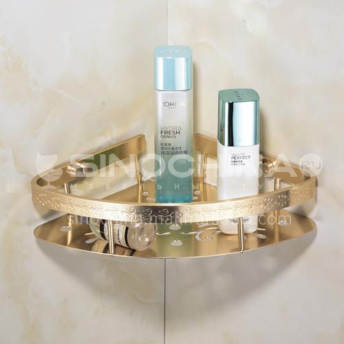 Bathroom space aluminum champagne gold single corner shelf KHK