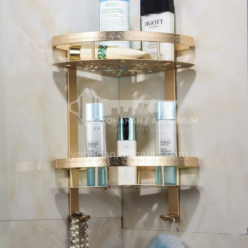 Bathroom space aluminum champagne gold double corner shelf KHK
