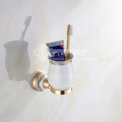 Bathroom champagne gold space aluminum ceramic base single cup toothbrush holderMY-9102