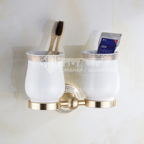 Bathroom champagne gold space aluminum ceramic base double toothbrush cup holderMY-9104