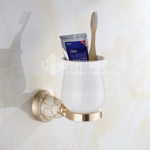 Bathroom champagne gold space aluminum ceramic base single cup toothbrush holderMY-9202