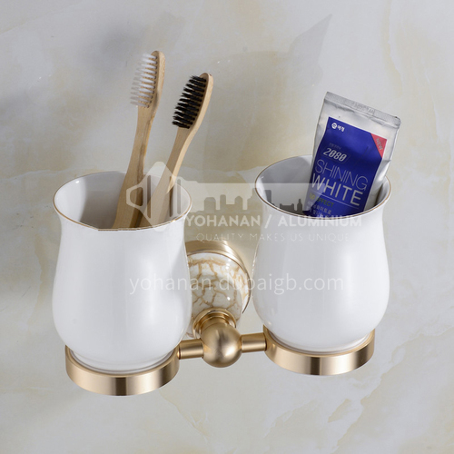 Bathroom champagne gold space aluminum ceramic base double toothbrush cup holderMY-9204