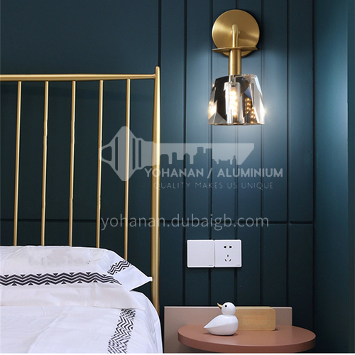 Nordic copper creative crystal lamp modern light luxury wall lamp living room TV background wall lamp indoor bedside lamp Nordic copper material creative crystal lamp-AG-LB3150