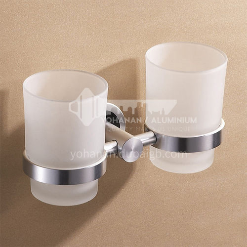 Bathroom silver space aluminum simple mouthwash cup holder double cup MY-9604