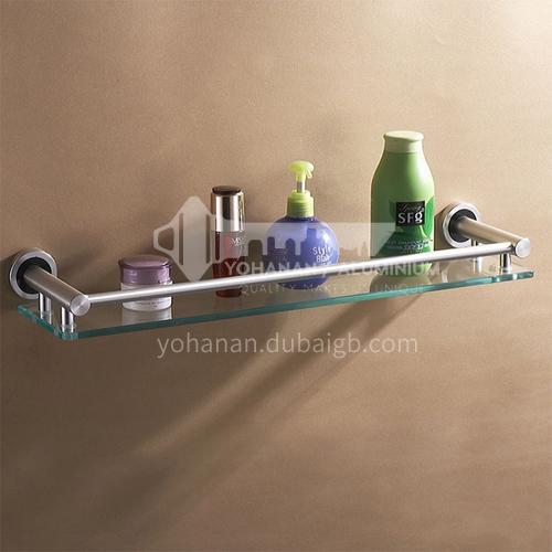 Bathroom silver space aluminum simple shelf thick organic tempered glass shelf MY-9616