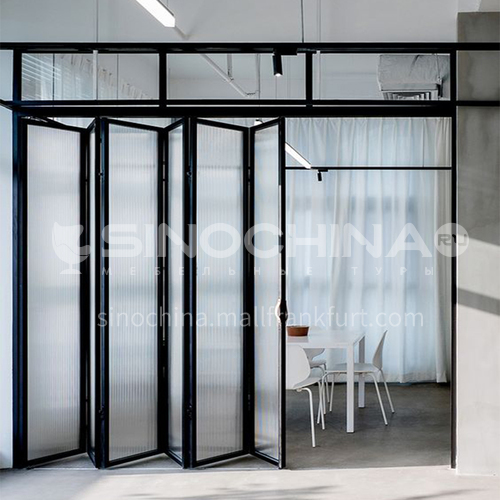 2.0mm hot sale high quality aluminum alloy double-layer tempered transparent glass narrow side folding door