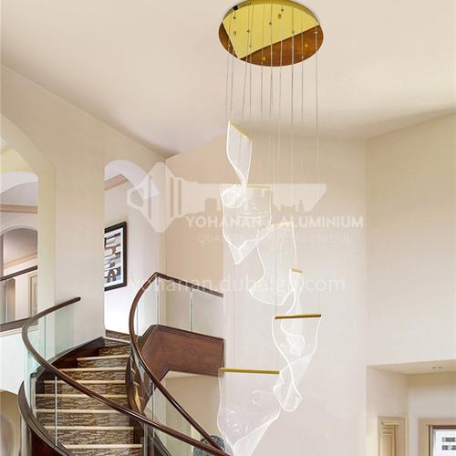 Modern villa duplex hotel lobby chandelier, living room light, spiral staircase chandelier-NVC-GD-BXDN1085
