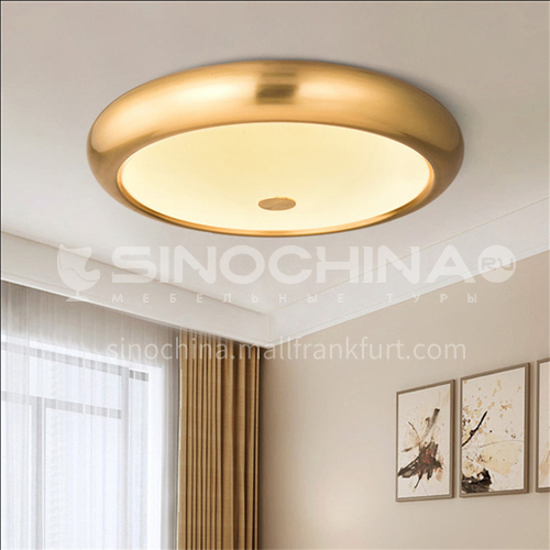 American round master bedroom ceiling lamp aisle light simple creative interior room light living room all copper lamps-AG-LX6872
