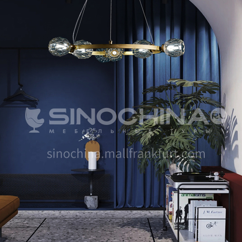 All-copper post-modern chandelier American light luxury crystal living room lamp home atmosphere simple creative dining room lamp SHMY-8930