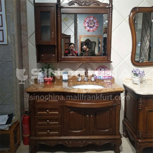 European style bathroom cabinet solid wood antique mirror cabinet O008-Empire