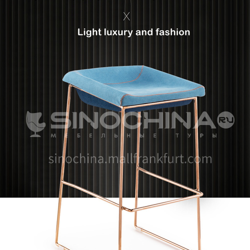 DPT-102-1- Bar chair, hardware feet, electroplating feet, shaped cotton, skin-friendly fabric, PU leather, comfortable foam cushion