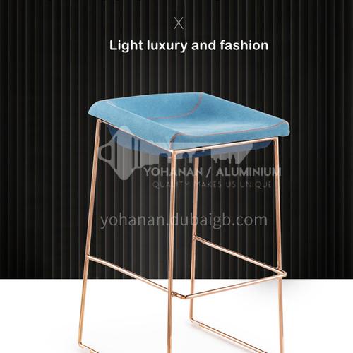 DPT-102-1- Bar chair, hardware feet, electroplating feet, shaped cotton, skin-friendly fabric, PU leather, comfortable foam cushion