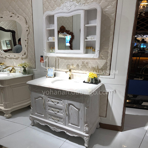 European oak bathroom cabinet floor-to-ceiling American bathroom cabinet O9099-Empire
