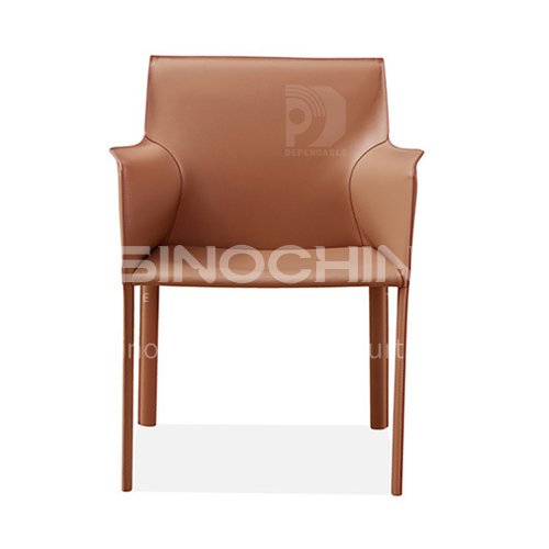 DPT-2154 Scandinavian minimalist dining chair iron inner frame + hard leather