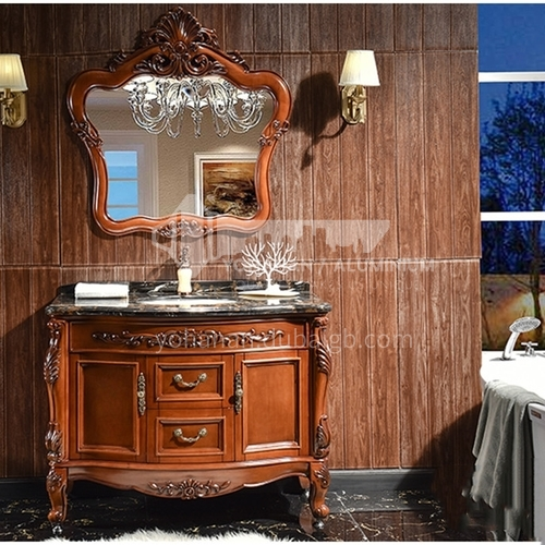 European style bathroom cabinet red oak floor solid wood bathroom cabinet O9868-Empire