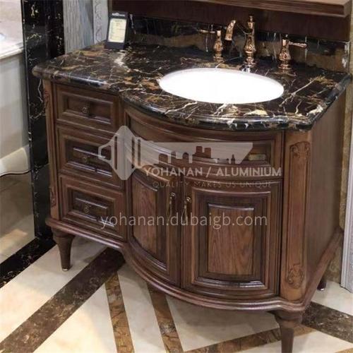 European style red oak antique bathroom cabinet O9989-Empire