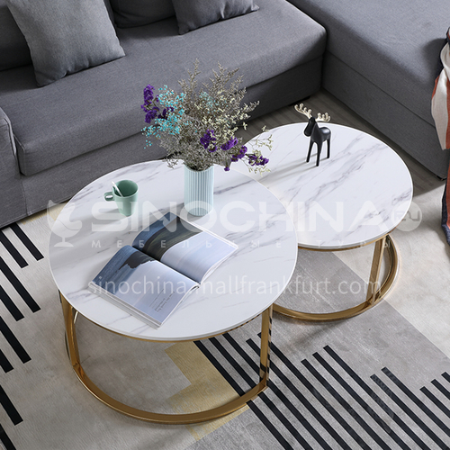 SD-300 Picture-Mother Coffee Table Living Room Marble Countertop Stainless Steel Gilded Coffee Table