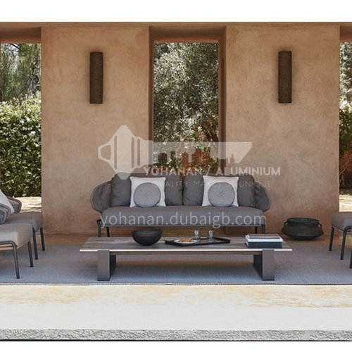 ST-T-003 T-032- Outdoor furniture, Nordic outdoor rattan sofa, aluminum alloy, PE rattan, nylon rope, solid wood, marble, leisure outdoor furniture combination