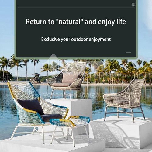 ST-T-006- Outdoor furniture, aluminum alloy, PE rattan, tempered glass coffee table, sofa set