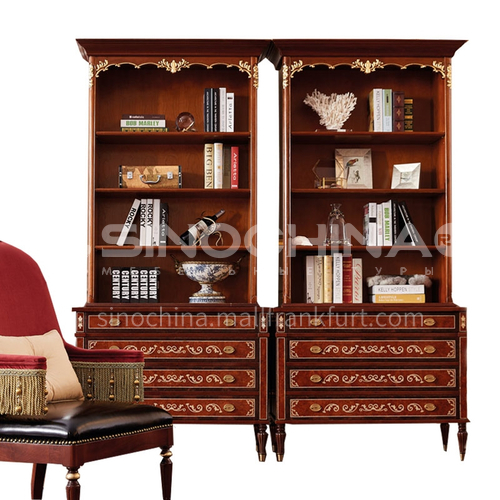 LS-LSSG-1 Home office mahogany E0 solid wood multilayer board shell inlaid veneer parquet bookcase