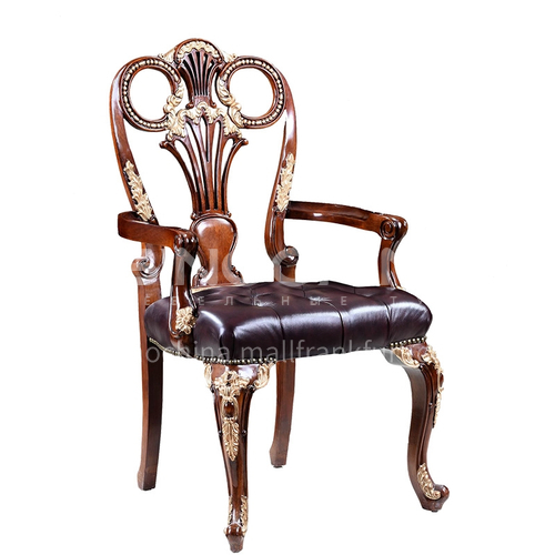 LS-LSSY-2- Book chair, mahogany, leather contact surface, hand-carved, high-density sponge, comfortable cushion, home office furniture
