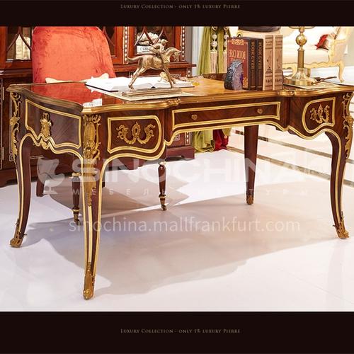 LS-LSSZ-1- Desk, mahogany, E0 solid wood laminate, shell inlay, veneer parquet, home office furniture