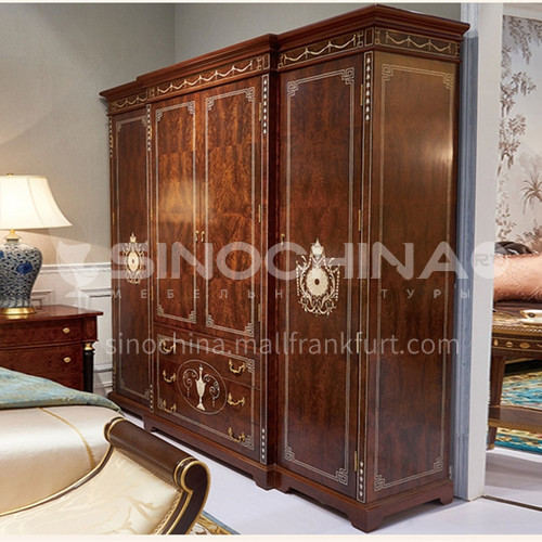 LS-LSYG-2- Bedroom furniture, mahogany, E0 solid wood laminate, shell inlay, veneer mosaic, classic wardrobe