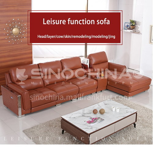 ZF-628 High-density sponge modern sofa with leather sofa surface for living room