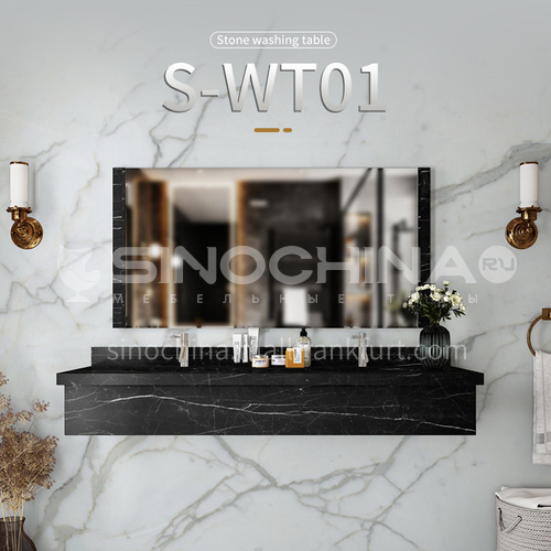 Modern and simple style bathroom, marble sink, wall-mounted sink, natural marble customization, combination of light  luxury wall-mounted marble sink  S-WT01