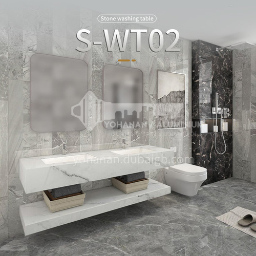 Modern and simple style bathroom, marble sink, wall-mounted sink, natural marble customization, combination of light  luxury wall-mounted marble sink  S-WT02