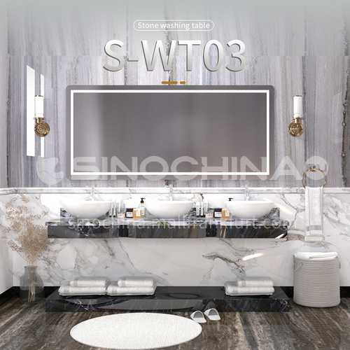 Modern and simple style bathroom, marble sink, wall-mounted sink, natural marble customization, combination of light  luxury wall-mounted marble sink  S-WT03