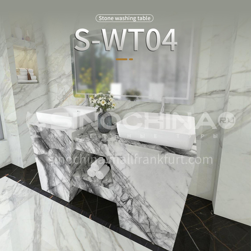 Modern and simple style bathroom, marble sink, wall-mounted sink, natural marble customization, combination of light  luxury wall-mounted marble sink   S-WT04