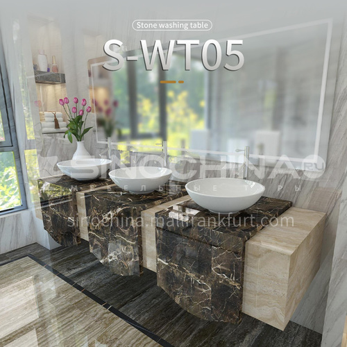 Classical European style bathroom marble sink wall-mounted sink natural marble custom combination light luxury wall-mounted marble sink  S-WT05