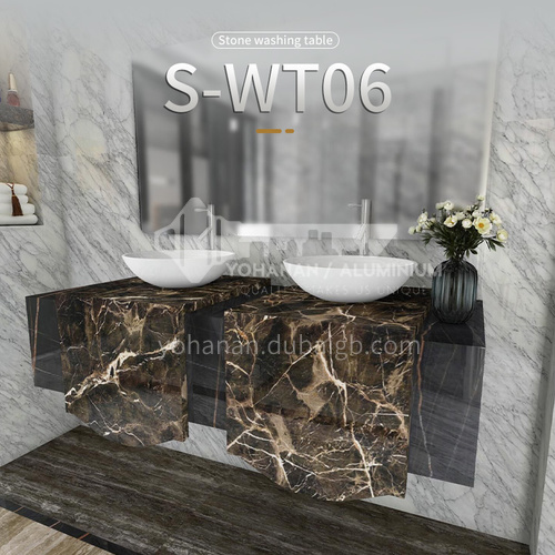 Classical European style bathroom marble sink wall-mounted sink natural marble custom combination light luxury wall-mounted marble sink S-WT06