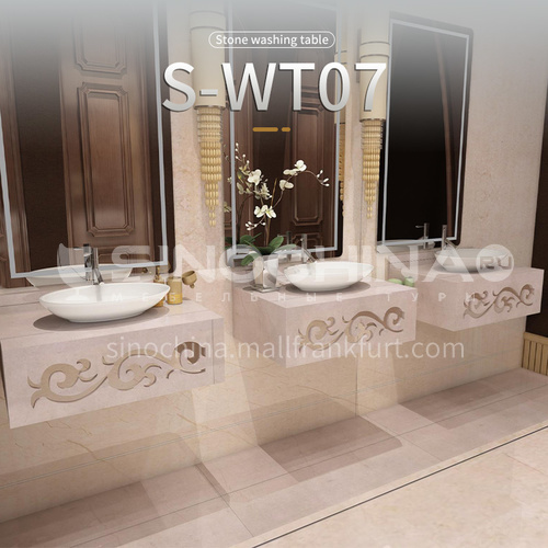 Modern and simple style bathroom, marble sink, wall-mounted sink, natural marble customization, combination of light  luxury wall-mounted marble sink  S-WT07