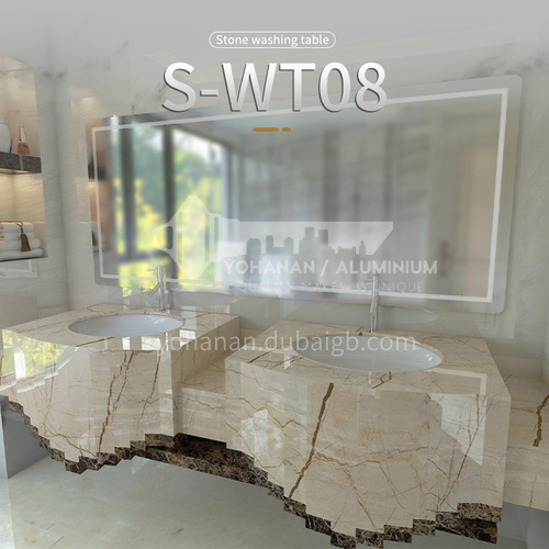 Modern and simple style bathroom, marble sink, wall-mounted sink, natural marble customization, combination of light  luxury wall-mounted marble sink  S-WT08