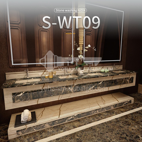 Classical European style bathroom marble sink wall-mounted sink natural marble custom combination light luxury wall-mounted marble sink S-WT09