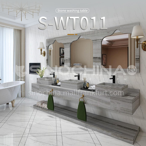 Classic European Style Bathroom Marble Sink Natural Marble Wall Sink Lightweight Custom Combination Luxury Wall Mounted Marble Sink S-WT011