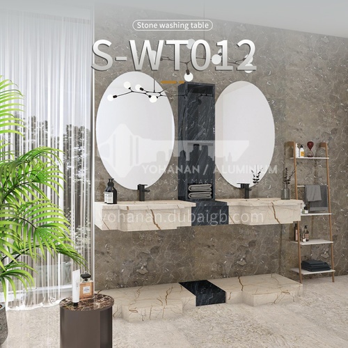 Modern and simple style bathroom, marble sink, wall-mounted sink, natural marble customization, combination of light  luxury wall-mounted marble sink S-WT012