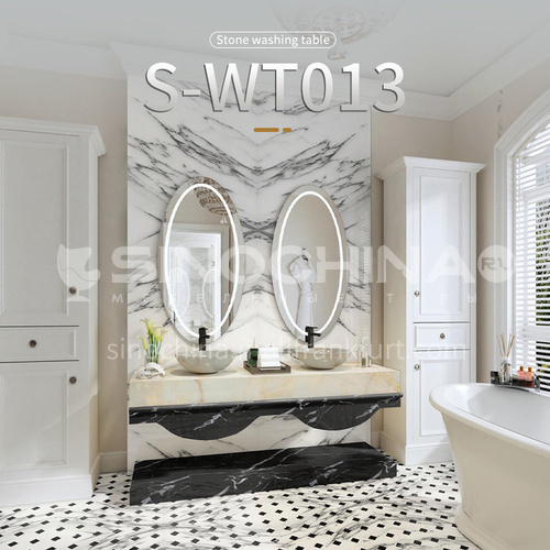 Modern and simple style bathroom, marble sink, wall-mounted sink, natural marble customization, combination of light  luxury wall-mounted marble sink S-WT013