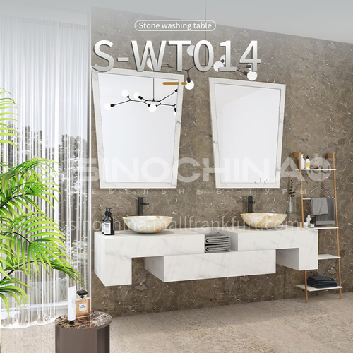 Modern and simple style bathroom, marble sink, wall-mounted sink, natural marble customization, combination of light  luxury wall-mounted marble sink S-WT014