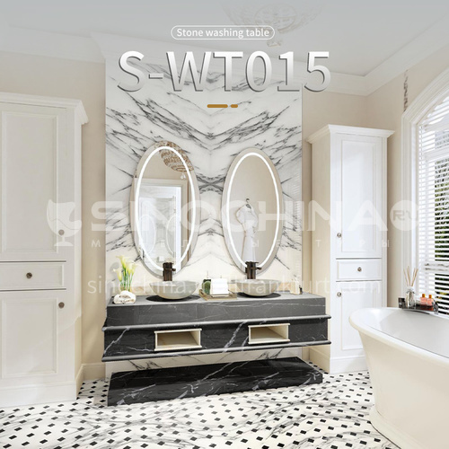 Modern and simple bathroom, marble sink, wall-mounted sink, natural marble customization, light luxury wall-mounted marble sink combination S-WT015