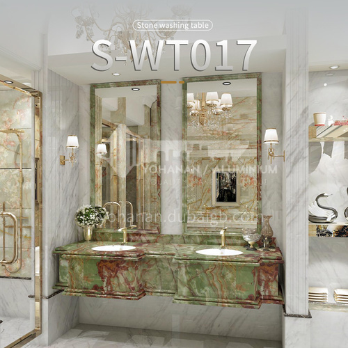 Classical European style bathroom marble sink wall-mounted sink natural marble custom combination light luxury wall-mounted marble sink S-WT017