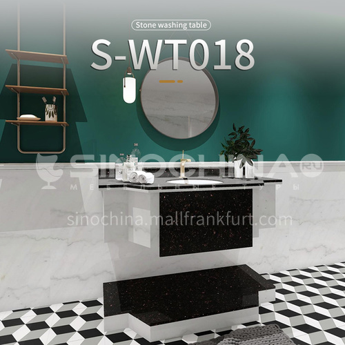 Modern and simple style bathroom, marble sink, wall-mounted sink, natural marble customization, combination of light  luxury wall-mounted marble sink S-WT018