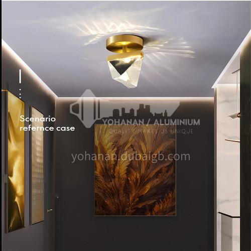 Modern crystal entrance hallway lights Nordic light luxury all-bronze creative bedroom room balcony hallway lightsAG-LX2703