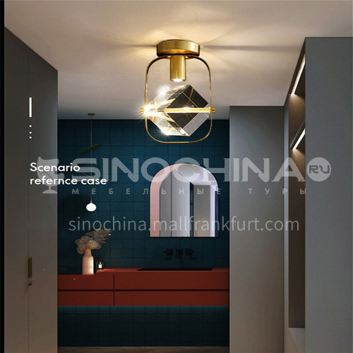 Modern all-copper light luxury entrance hall light entrance hall light Nordic simple creative crystal corridor aisle lightAG-LX2707