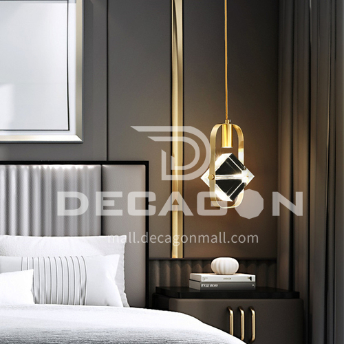 Modern simple stairwell long chandelier duplex apartment apartment golden crystal rotating super long chandelier-AG-LD1308