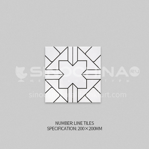 Nordic small tiles bathroom wall tiles kitchen black and white mosaic tiles non-slip floor tiles living room flower tiles-XWZLINE TILES 200*200mm