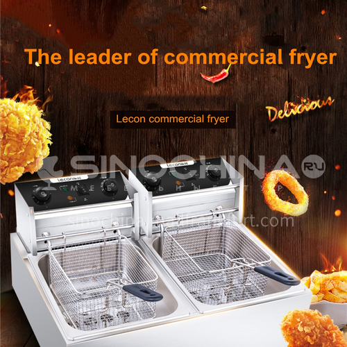 Lecon deep fryer electric fryer commercial electric fryer double cylinder fryer stainless steel thickened French fries machine potato chip machine   DQ000994